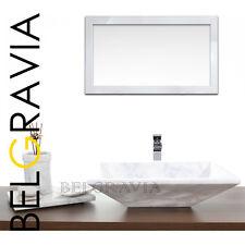 "Marble Stone Sink Bathroom Countertop Vessel Rectangular Wash Basin 20"" White R1"