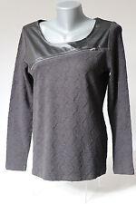 Modisches Damen Langarm Shirt Pullover Ambria Leder longsleeve  Style 09