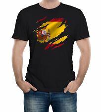 Torn Spain Flag Men's T-Shirt Spanish Madrid Country national football
