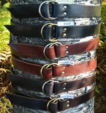 "Handmade Double O-Ring Leather Belt Heavy Duty 1 1/2"" 1.5 Inch Wide Mens/Womens"