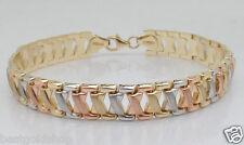 Diamond Cut X Link Bracelet Real 14K Yellow White Pink TriColor Gold