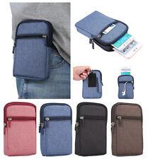 """UK 6.3"""" Universal Casual Denim Zip Belt Bag Phone Case Pouch Wallet Waist Pack"""