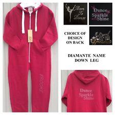Personalised Dance Onesie.Diamante Jumpsuit Hoodie.Leotard.Gymnastic.Gerber.3-15