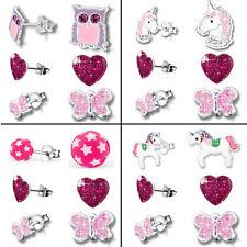 3er Set Ohrstecker Ohrringe für Kinder Mädchen Damen 925 echt Silber Sterling