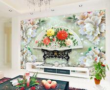 3D Jade Fan Flower Paper Wall Print Decal Wall Wall Murals AJ WALLPAPER GB