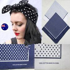 Women Lady Girl Retro 70' 80' Cotton Polka Dots Bandana Hair Headband Wrap