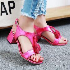 Sweet Womens Open Toe Ankle Strap Mid Block Heel Tassels Shiny New Sandals Shoes