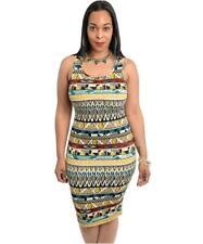 Womens Plus Dress Aztec Print  Summer Body Con knee lenght Mustard XL1XL 2XL
