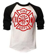 Men's Fire Department White Baseball Raglan T Shirt Firefighter Fire Rescue Tee