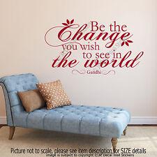 Be the change - Gandhi motivational Quote Decal inspiring vinyl Wall Art Sticker