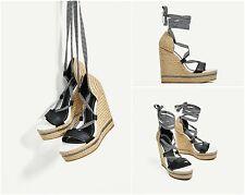 ZARA Woman Authentic Black White Lace-Up Wedges Platforms EU 39-40 Ref. 1485/201