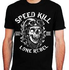Speed Kill T-Shirt mens S-2XL Biker tee skull motorcycle rock bike lone rebel