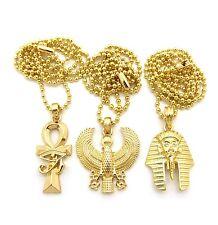 Ankh Cross + Horus Bird + King Tut Pendant Charm Ball Chain Necklace Jewelry Set
