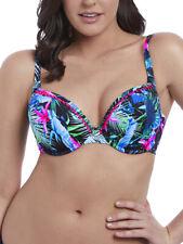 Freya Jungle Flower Moulded Bikini Top 5841 Underwired Bandless Black Tropical