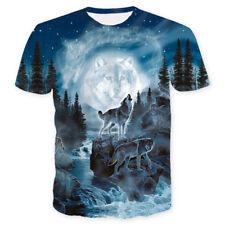 cool Tee T-shirt Homme femme 3D de loup Wolf à imprimé intégral été décontracté
