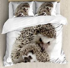 Hedgehog Duvet Cover Set with Pillow Shams Mother Children Love Print