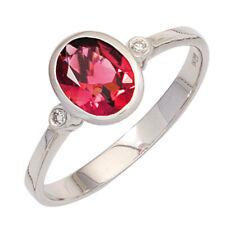 Damen Ring 585 Gold Weißgold 1 Turmalin rosa 2 Diamanten Goldring