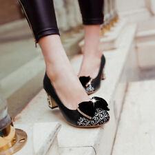 Ladies Bowknot Court Shoes Shallow mouth Stiletto Heels Pumps SIngle shoes Size