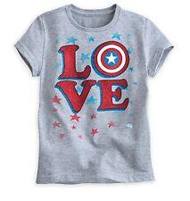 """Disney Store de Chica Capitán América """"Love"""" Camiseta Talla 5/6 7/8 10/12 14"""
