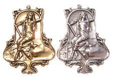 1675  Antiqued Brass Sterling Silver Woman Girl Mythology Centerpiece Pendant