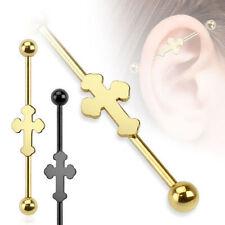 INDUSTRIAL Piercing Cruz Oro Negro Piercing de barra Oreja Acero Quirúrgico 316l