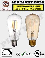 E26 3.5W ST19 LED Filament Light Bulb Clear Amber 2700K 2200K AC120 UL Listed