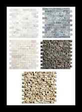 Mosaik Wandverblender Beige Braun Weiß Naturstein für Wand spaltrau Bordüre Spa