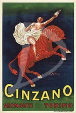 PLAQUE ALU REPRODUISANT UNE AFFICHE CINZANO VERMOUTH TORINO CHEVAL