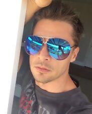 "AVIATOR Metal Wire Frame Mirrored Reflective Lens ""Porsch"" Oversized Sunglasses"