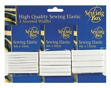 White Sewing Elastic Dressmaking Elasticated Knitting Widths 5mm 8mm 12mm 25mm