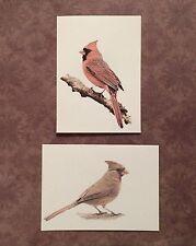 Set of 6 Handmade Blank Cardinal Bird Print Note Cards