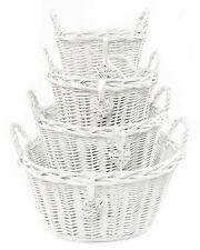 Deep Oval White French Shabby Chic Wicker Kitchen Crafts Bathroom Storage Basket