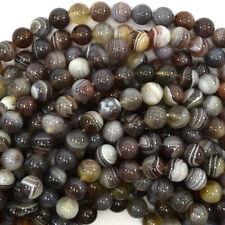 """Natural Botswana Agate Round Beads Gemstone 16"""" Strand 6mm 8mm 10mm 12mm"""