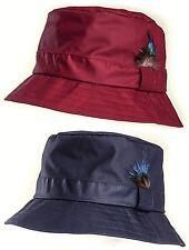 Wax Bush Hat Bucket Shower Proof Rain Winter Red Navy Feather Ladies Women's