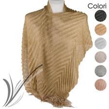 Stola cerimonia coprispalle elegante a plisse con frange foulard scialle grande