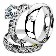 His & Her 3 Pc Stainless Steel 3.10 Ct Cz Bridal Set & Men Zirconia Wedding Band