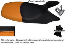 BLACK AND ORANGE CUSTOM FITS HONDA XL 125 01-12 VARADERO LEATHER SEAT COVER