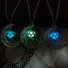 Ahuecar Colgante De Corazón De Luna Collar Luminoso Brillan En La Oscuridad
