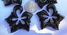 Pair Organic Areng Wood Tribal Floral Star Spirals Ear Stretcher Plugs Gauges