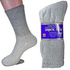 3-12 Pairs Gray Diabetic Crew Socks Health Mens Womens Circulatory Calf Cotton