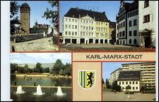 KARL-MARX-STADT Chemnitz Mehrbild-AK DDR Heckert-Haus, Roter Turm, Wasserspiele