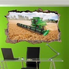 Cosechadora Agricultura Campo de trigo Arte Pared Adhesivo Decoración de oficina de Habitación Calcomanía Mural ZO2