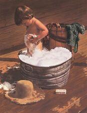 Saturday Night (detail) by Jim Daly Art Print Child Children Bath Poster 11x14