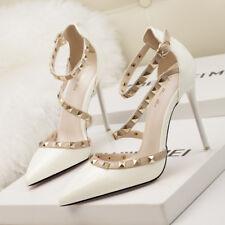 Stiletto Scarpe decolte sandali eleganti borchie simil pelle 11 bianco 1188 7231da193bc