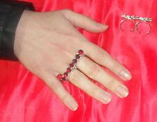 anello doppio dito strass ss29    5 mm ROSSO PL ARGENTO made in italy