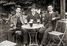 A la Terrasse du café bar bock de bière - repro retirage photo ancienne an. 1920