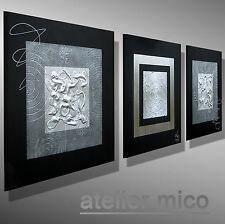 modern abstrakt bilder MICO ORIGINAL malerei Künstler Bild KUNST SILBER Leinwand