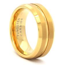 Men's Tungsten Carbide Gold Tone Inner Line Flat Wedding Band Ring Size 8 - 12