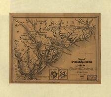 Poster Print Antique Shipping Coastal & Seas Map St Helena Sound South Carolina