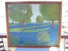 """Antique J.W. ANDERSON Huge POINTILLISM Oil Canvas Painting """"BLUE BONNETS TEXAS"""""""
